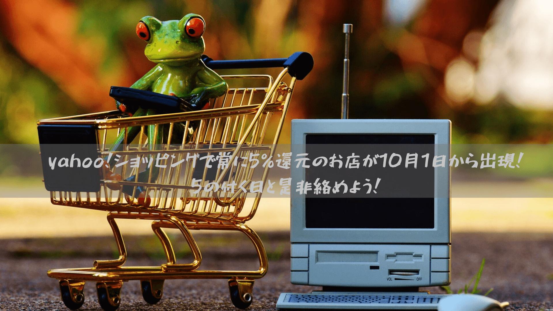 yahoo!ショッピングで常に5%還元のお店が10月1日から出現!5の付く日と是非絡めよう!