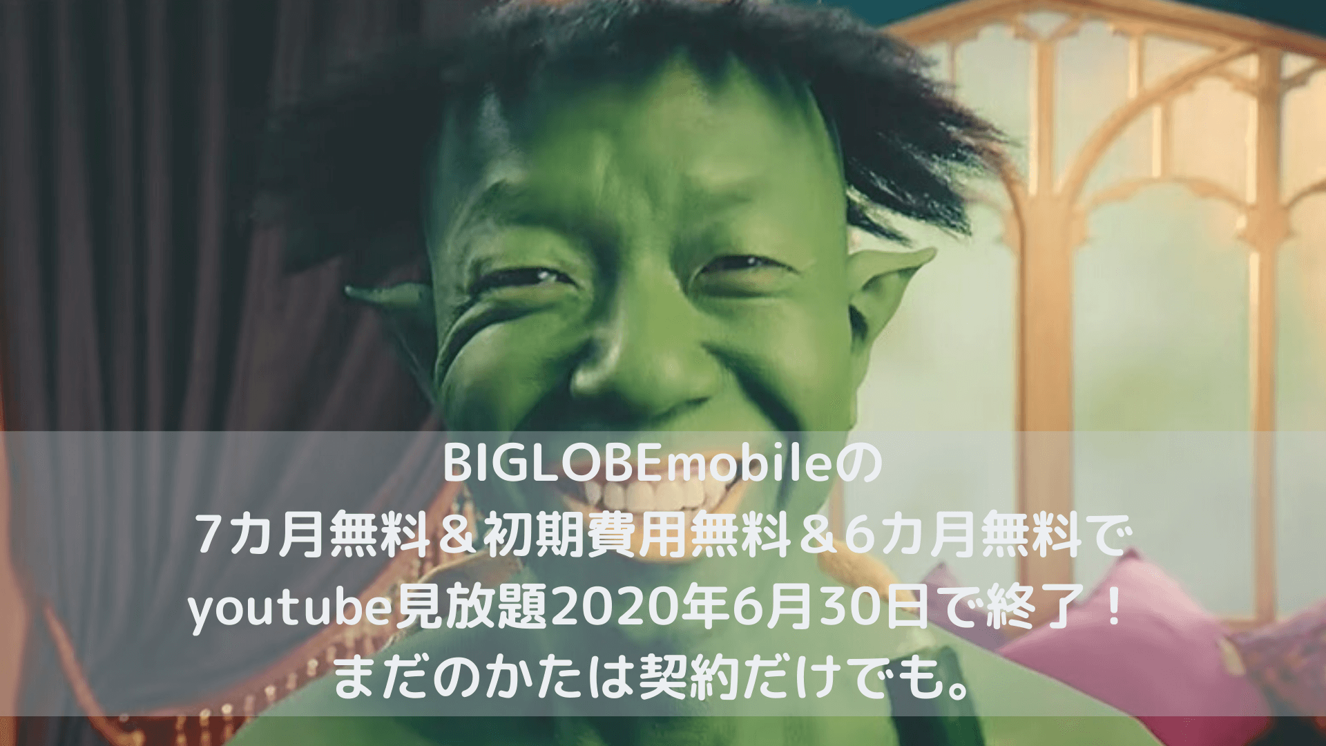 BIGLOBEmobileの7カ月無料&初期費用無料&6カ月無料でyoutube見放題2020年6月30日で終了!まだのかたは契約だけでも。