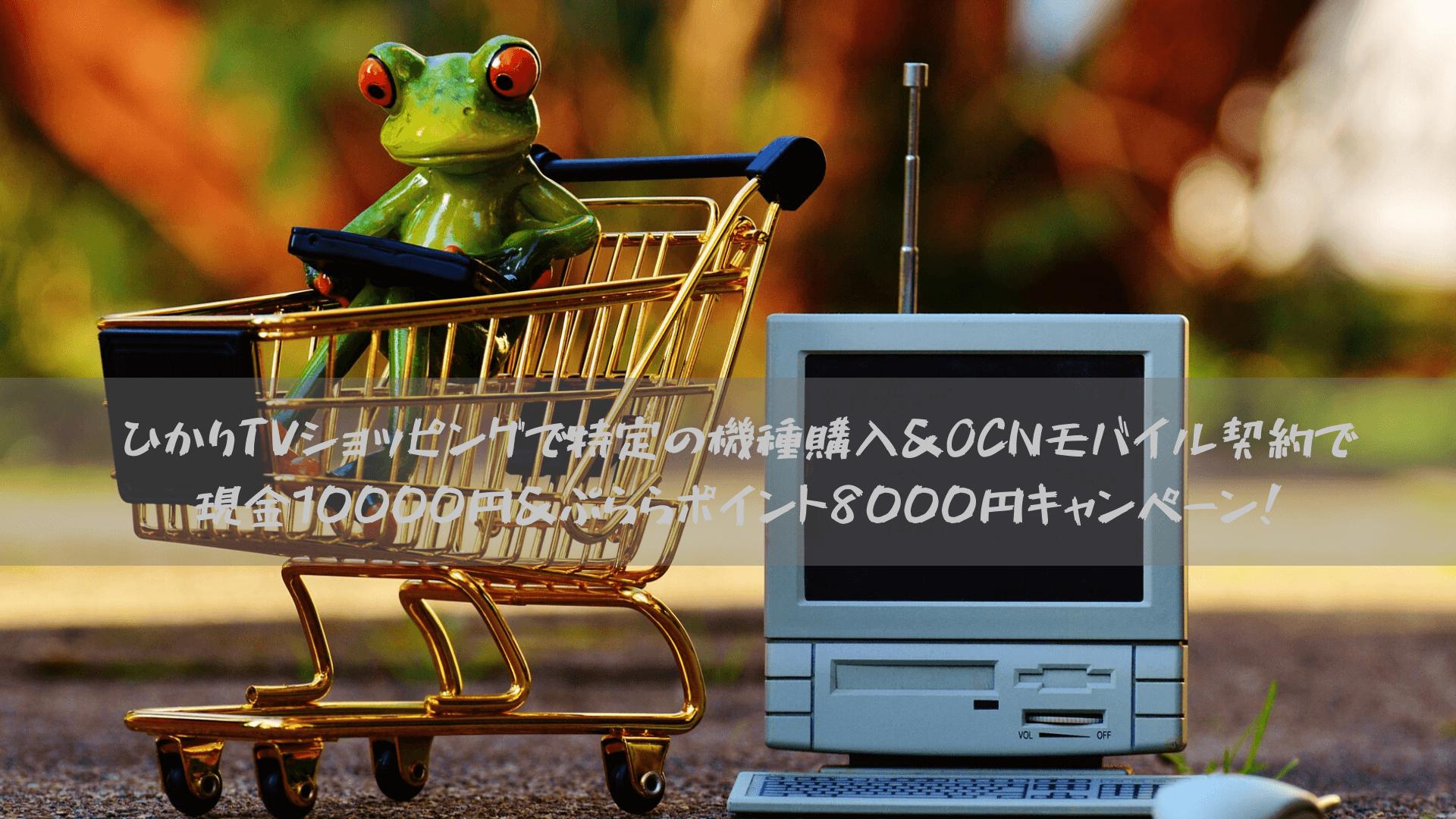 ひかりTVショッピングで特定の機種購入&OCNモバイル契約で現金10000円&ぷららポイント8000円キャンペーン!