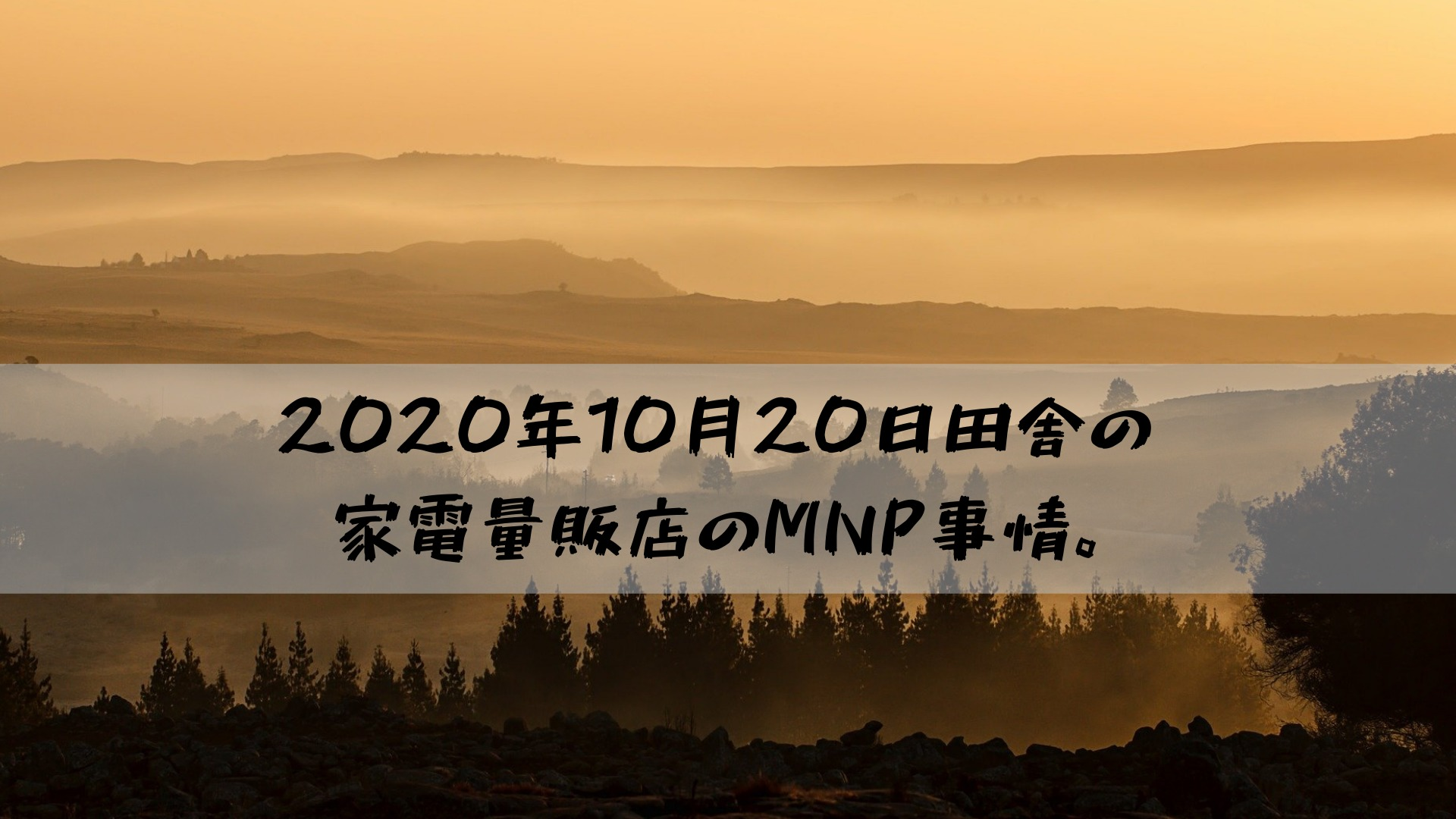 2020年10月20日田舎の家電量販店のMNP事情。