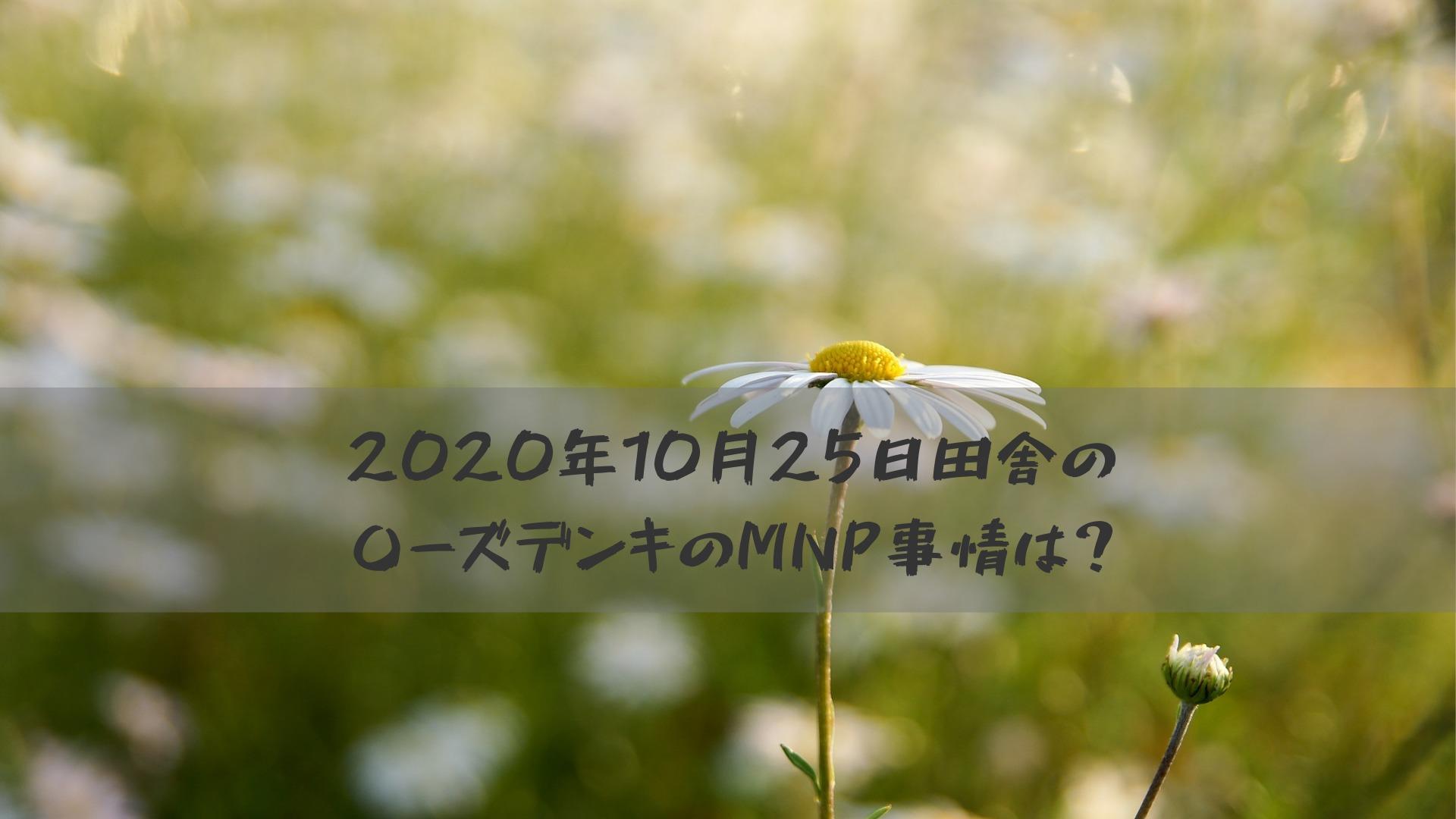 2020年10月25日田舎の〇ーズデンキのMNP事情は?